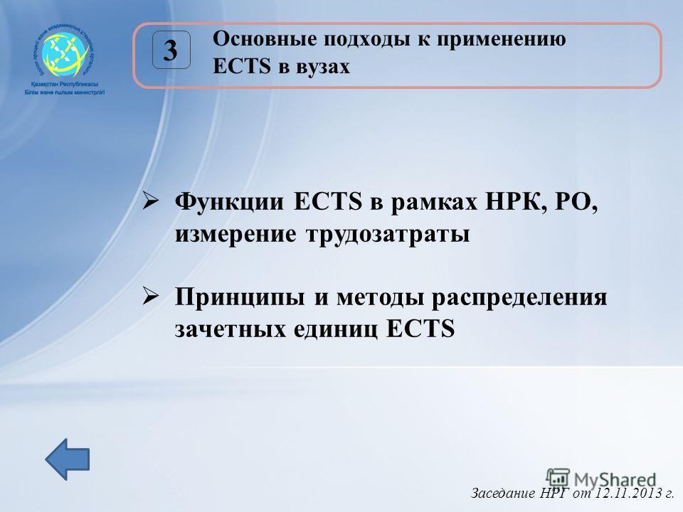 Заседание НРГ от 12.11.2013 г. Основные подходы к применению ECTS в вузах 3 Функции ECTS в рамках НРК, РО, измерение трудозатраты Принципы и методы распределения зачетных единиц ECTS