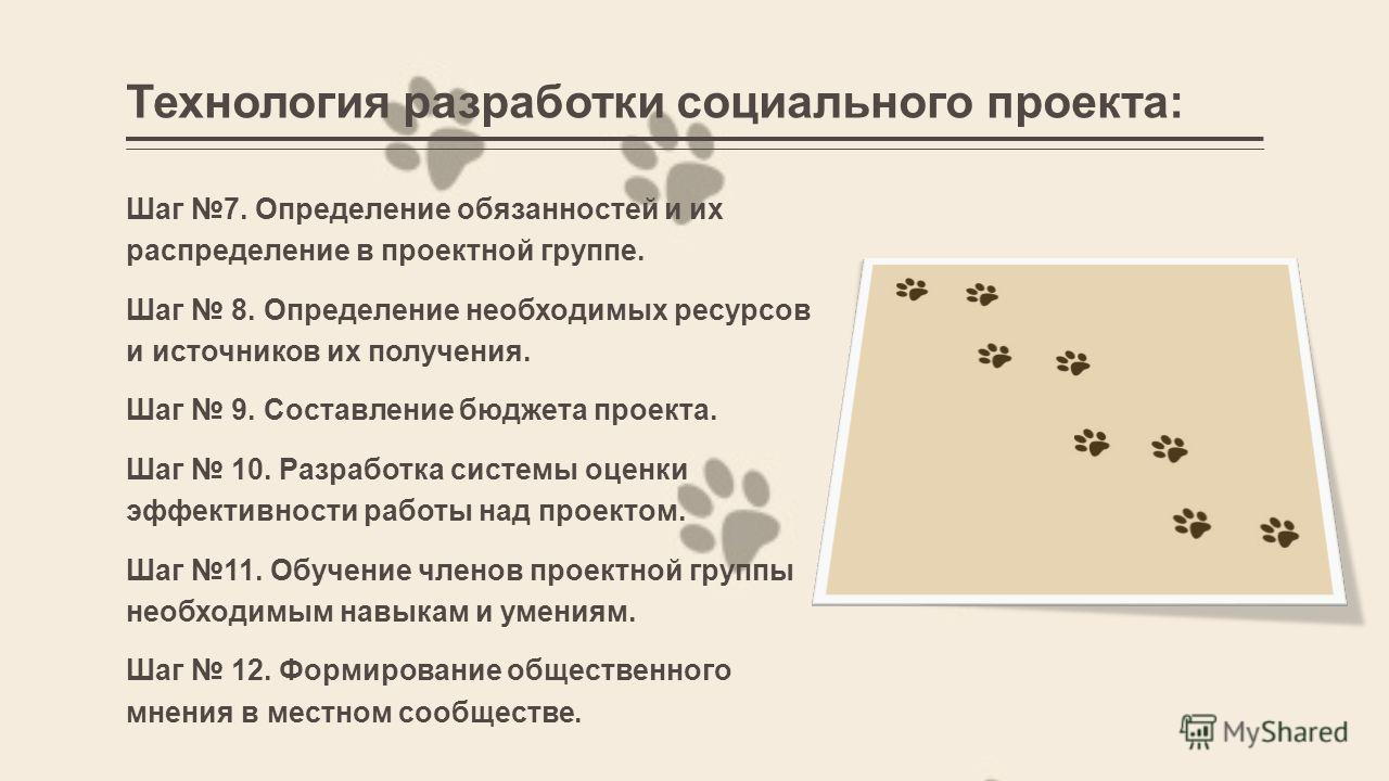 Технология разработки социального проекта: Шаг 7. Определение обязанностей и их распределение в проектной группе. Шаг 8. Определение необходимых ресурсов и источников их получения. Шаг 9. Составление бюджета проекта. Шаг 10. Разработка системы оценки