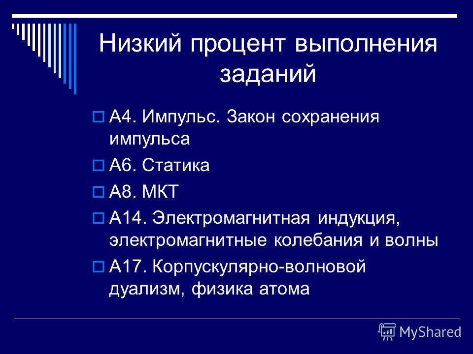 Низкий процент выполнения заданий А4. Импульс. Закон сохранения импульса А6. Статика А8. МКТ А14. Электромагнитная индукция, электромагнитные колебания и волны А17. Корпускулярно-волновой дуализм, физика атома