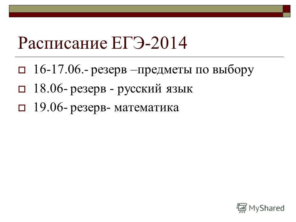 Расписание ЕГЭ-2014 16-17.06.- резерв –предметы по выбору 18.06- резерв - русский язык 19.06- резерв- математика