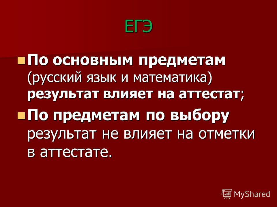 ЕГЭ По основным предметам (русский язык и математика) результат влияет на аттестат; По основным предметам (русский язык и математика) результат влияет на аттестат; По предметам по выбору результат не влияет на отметки в аттестате. По предметам по выб