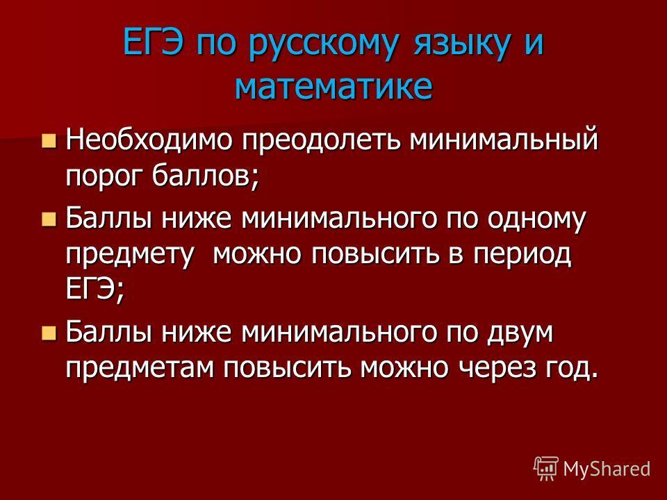 ЕГЭ по русскому языку и математике Необходимо преодолеть минимальный порог баллов; Необходимо преодолеть минимальный порог баллов; Баллы ниже минимального по одному предмету можно повысить в период ЕГЭ; Баллы ниже минимального по одному предмету можн