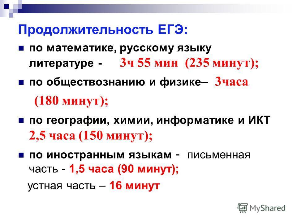 Продолжительность ЕГЭ: по математике, русскому языку литературе - 3 ч 55 мин (235 минут); по обществознанию и физике – 3 часа (180 минут); по географии, химии, информатике и ИКТ 2,5 часа (150 минут); по иностранным языкам - письменная часть - 1,5 час