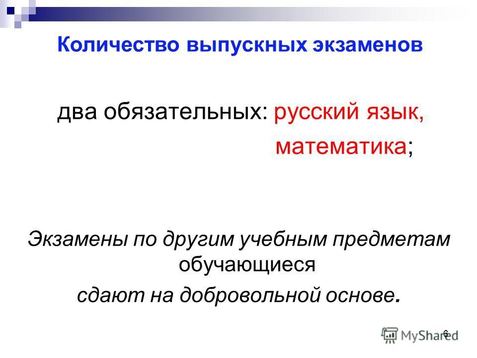 6 два обязательных: русский язык, математика; Экзамены по другим учебным предметам обучающиеся сдают на добровольной основе. Количество выпускных экзаменов