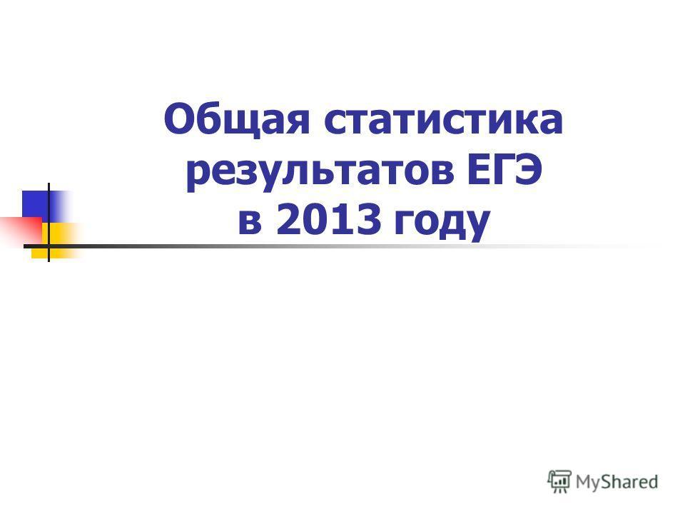 Общая статистика результатов ЕГЭ в 2013 году