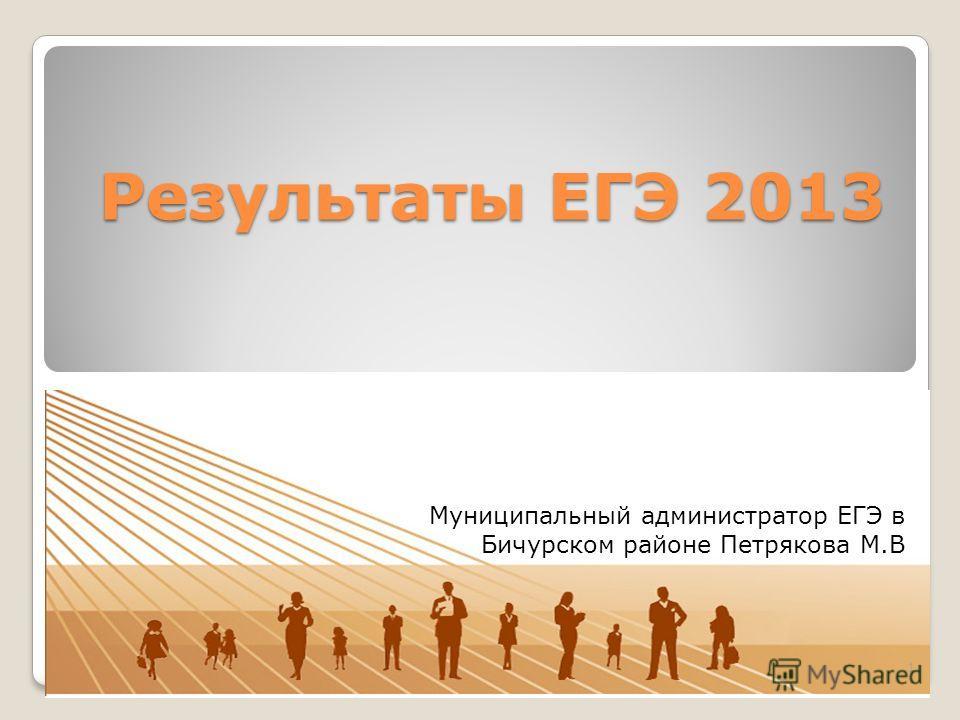Результаты ЕГЭ 2013 1 Муниципальный администратор ЕГЭ в Бичурском районе Петрякова М.В