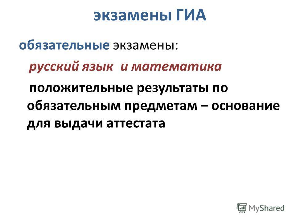 экзамены ГИА обязательные экзамены: русский язык и математика положительные результаты по обязательным предметам – основание для выдачи аттестата