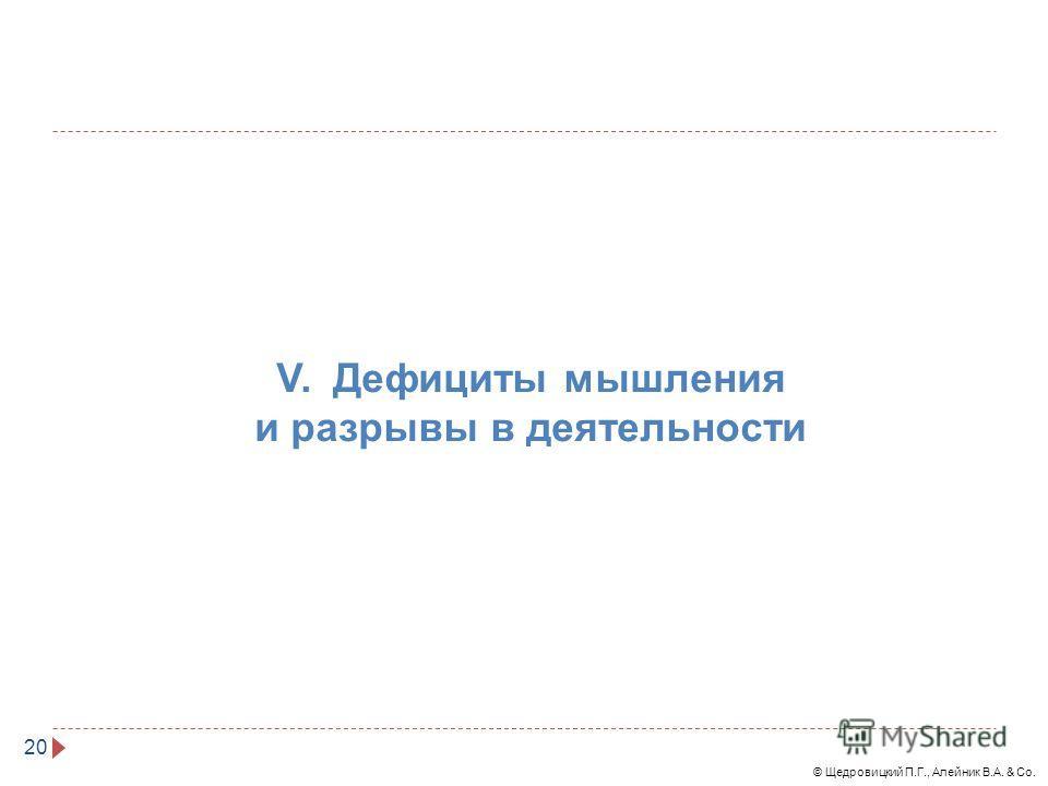 © Щедровицкий П.Г., Алейник В.А. & Co. 20 V. Дефициты мышления и разрывы в деятельности