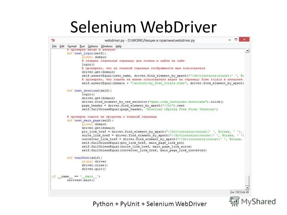Selenium WebDriver Python + PyUnit + Selenium WebDriver