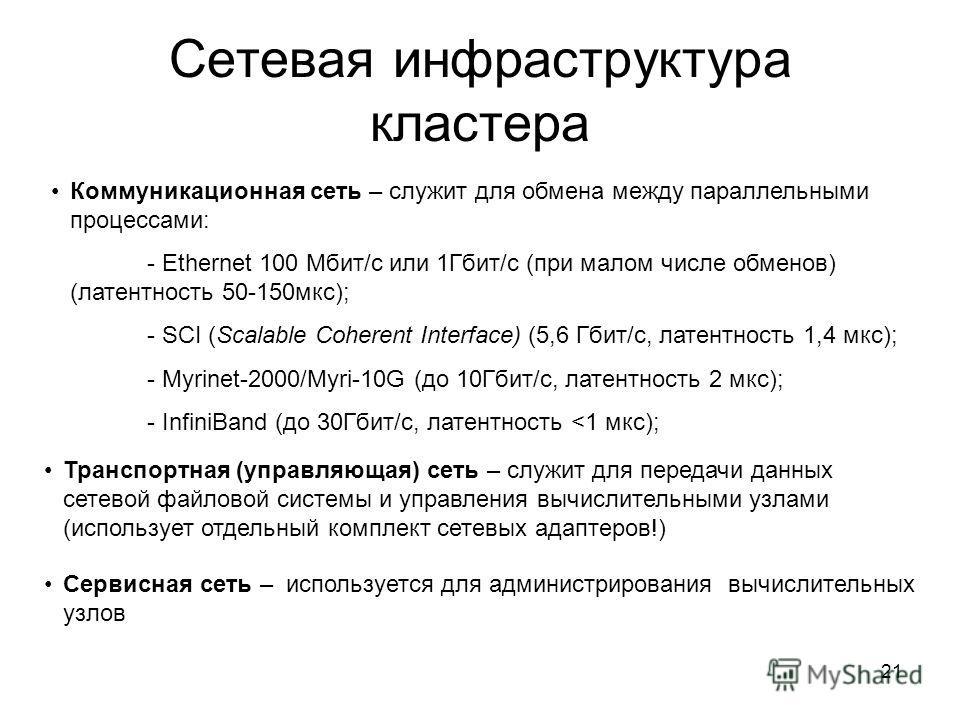 21 Сетевая инфраструктура кластера Коммуникационная сеть – служит для обмена между параллельными процессами: - Ethernet 100 Мбит/с или 1Гбит/с (при малом числе обменов) (латентность 50-150 мкс); - SCI (Scalable Coherent Interface) (5,6 Гбит/с, латент