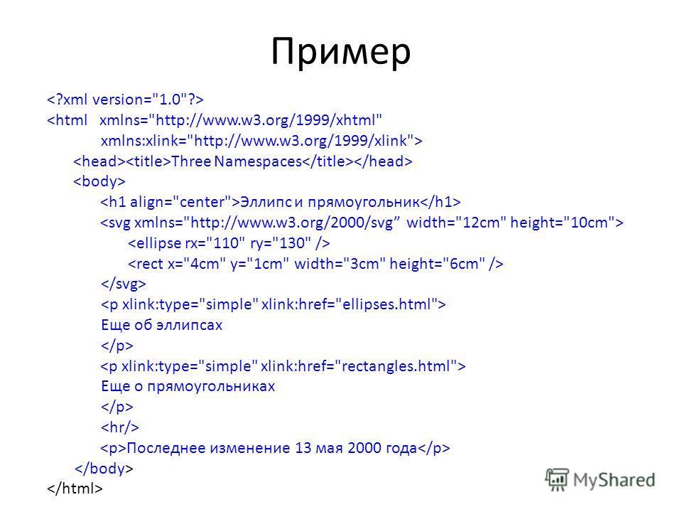 Пример  Three Namespaces Эллипс и прямоугольник Еще об эллипсах Еще о прямоугольниках Последнее изменение 13 мая 2000 года