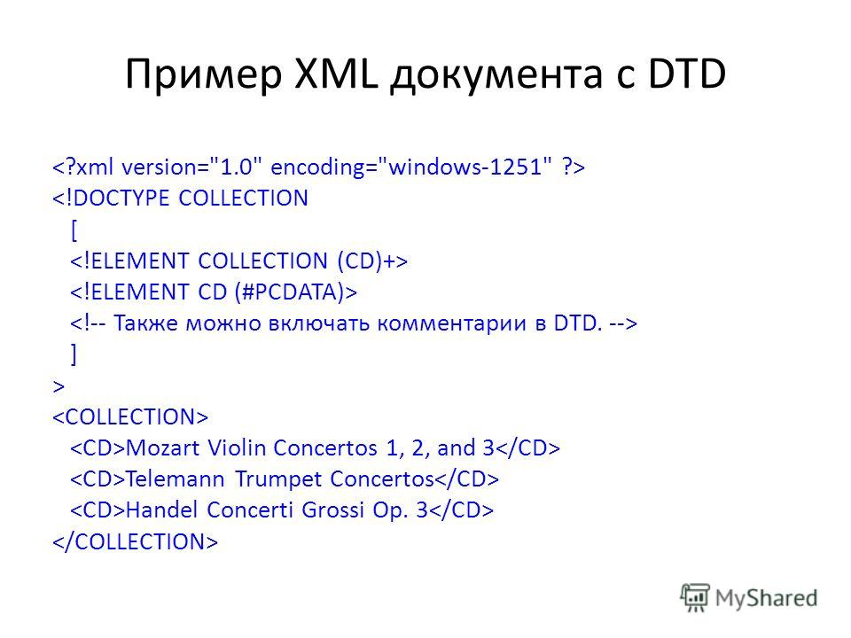 Пример XML документа с DTD  Mozart Violin Concertos 1, 2, and 3 Telemann Trumpet Concertos Handel Concerti Grossi Op. 3