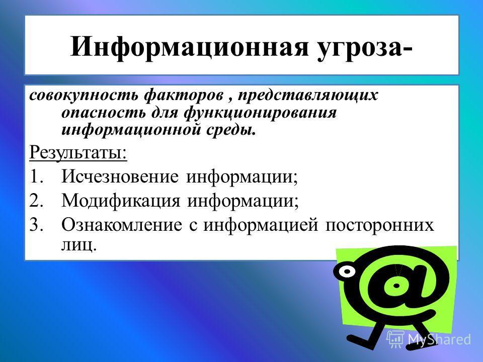 Информационная угроза- совокупность факторов, представляющих опасность для функционирования информационной среды. Результаты: 1. Исчезновение информации; 2. Модификация информации; 3. Ознакомление с информацией посторонних лиц.