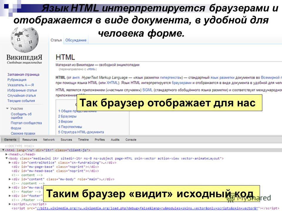 Язык HTML интерпретируется браузерами и отображается в виде документа, в удобной для человека форме. Так браузер отображает для нас Таким браузер «видит» исходный код