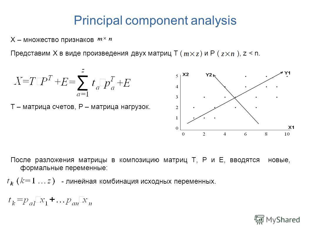 Principal component analysis X – множество признаков Представим X в виде произведения двух матриц T ( ) и P ( ), z < n. T – матрица счетов, P – матрица нагрузок. После разложения матрицы в композицию матриц T, P и E, вводятся новые, формальные переме