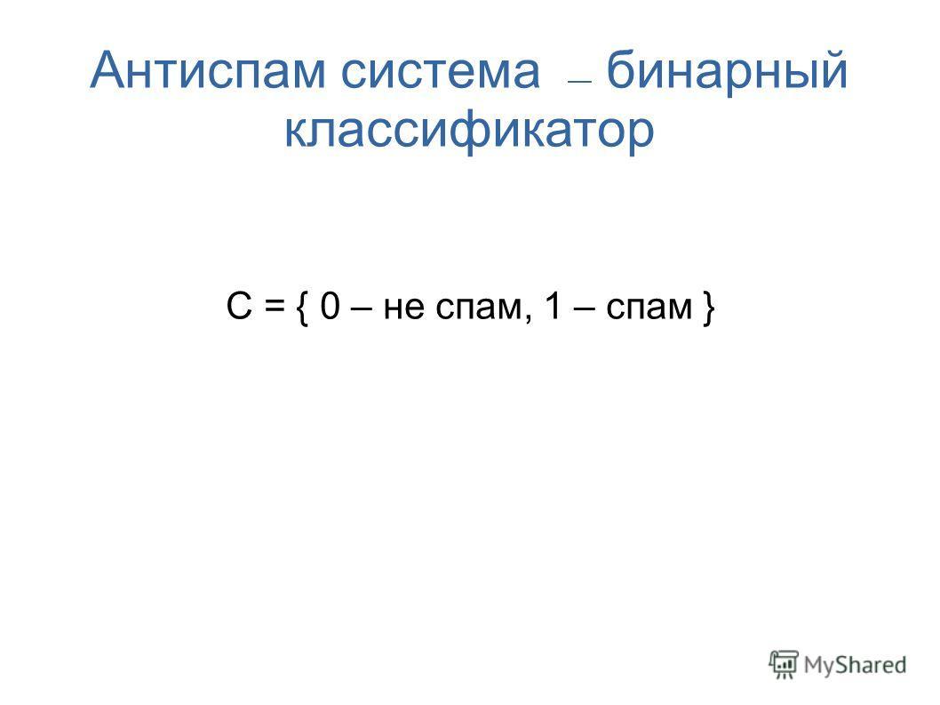 Антиспам система бинарный классификатор С = { 0 – не спам, 1 – спам }