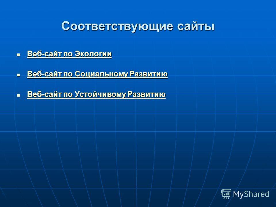 Соответствующие сайты Веб-сайт по Экологии Веб-сайт по Экологии Веб-сайт по Экологии Веб-сайт по Экологии Веб-сайт по Социальному Развитию Веб-сайт по Социальному Развитию Веб-сайт по Социальному Развитию Веб-сайт по Социальному Развитию Веб-сайт по