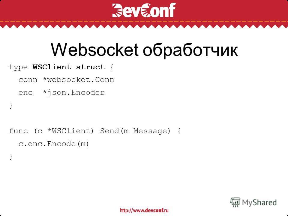 Websocket обработчик type WSClient struct { conn *websocket.Conn enc *json.Encoder } func (c *WSClient) Send(m Message) { c.enc.Encode(m) }
