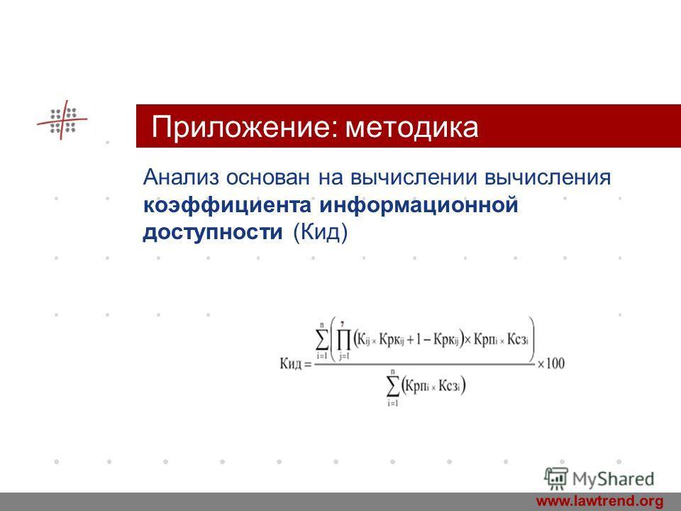 www.company.com Приложение: методика Анализ основан на вычислении вычисления коэффициента информационной доступности (Кид) Company LOGO