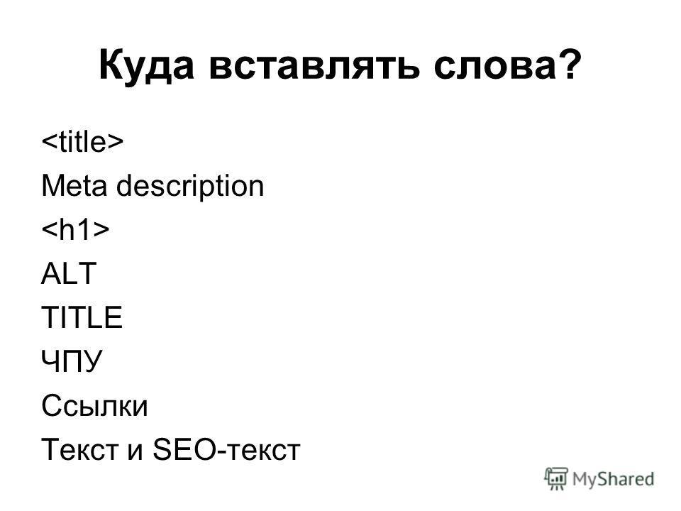 Куда вставлять слова? Meta description ALT TITLE ЧПУ Ссылки Текст и SEO-текст