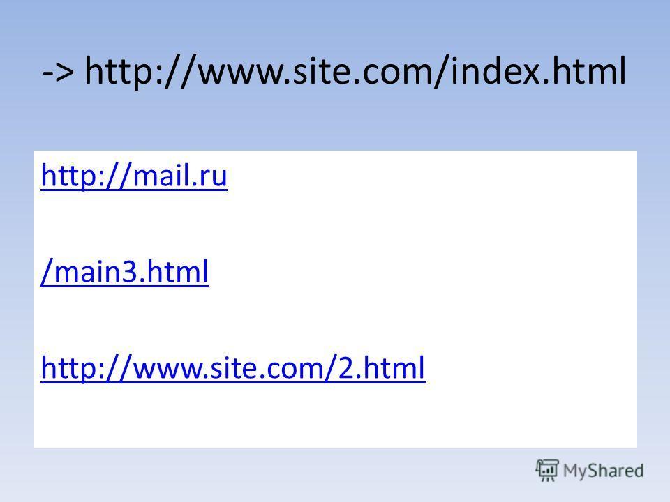 -> http://www.site.com/index.html http://mail.ru /main3. html http://www.site.com/2.html
