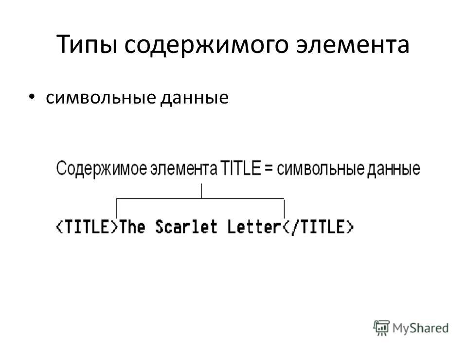 Типы содержимого элемента символьные данные