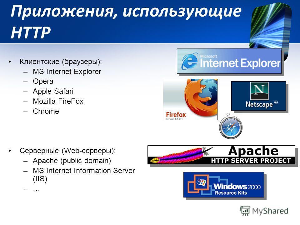 Приложения, использующие HTTP Клиентские (браузеры): –MS Internet Explorer –Оpera –Apple Safari –Mozilla FireFox –Chrome Серверные (Web-серверы): –Apache (public domain) –MS Internet Information Server (IIS) –…