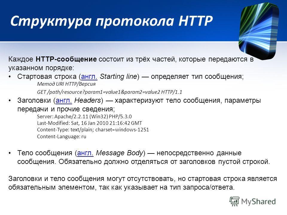 Структура протокола HTTP Каждое HTTP-сообщение состоит из трёх частей, которые передаются в указанном порядке: Стартовая строка (англ. Starting line) определяет тип сообщения;англ. Метод URI HTTP/Версия GET /path/resource?param1=value1&param2=value2