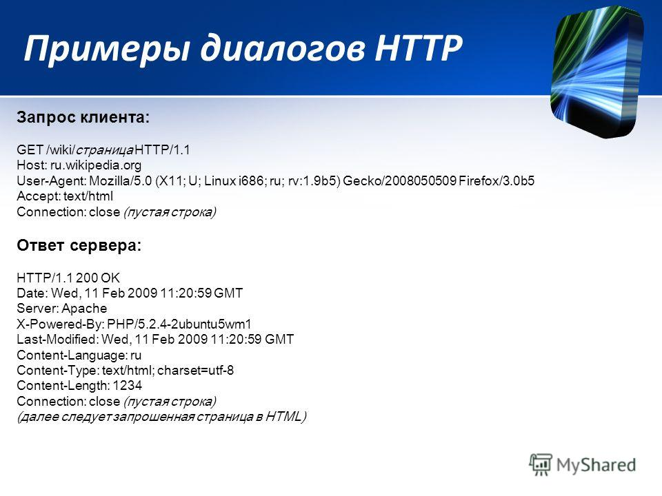 Примеры диалогов HTTP Запрос клиента: GET /wiki/страница HTTP/1.1 Host: ru.wikipedia.org User-Agent: Mozilla/5.0 (X11; U; Linux i686; ru; rv:1.9b5) Gecko/2008050509 Firefox/3.0b5 Accept: text/html Connection: close (пустая строка) Ответ сервера: HTTP