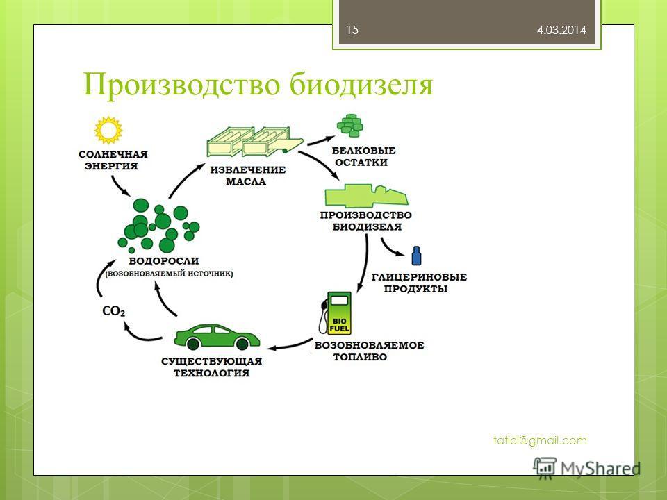 Производство биодизеля 4.03.2014 tatici@gmail.com 15
