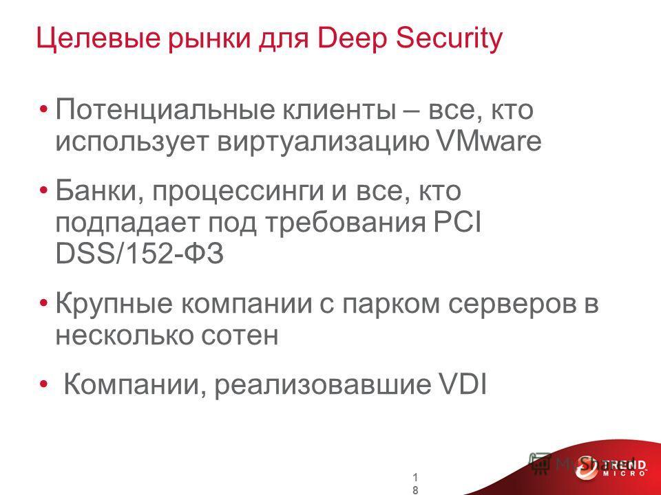 Целевые рынки для Deep Security Потенциальные клиенты – все, кто использует виртуализацию VMware Банки, процессинги и все, кто подпадает под требования PCI DSS/152-ФЗ Крупные компании с парком серверов в несколько сотен Компании, реализовавшие VDI 18