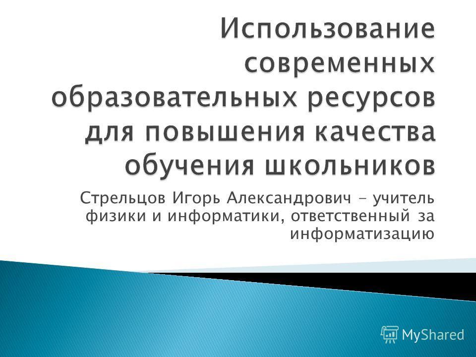 Стрельцов Игорь Александрович - учитель физики и информатики, ответственный за информатизацию