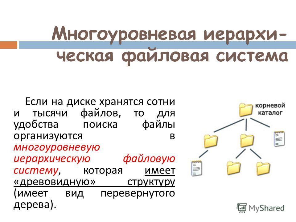 Многоуровневая иерархи- ческая файловая система Если на диске хранятся сотни и тысячи файлов, то для удобства поиска файлы организуются в многоуровневую иерархическую файловую систему, которая имеет « древовидную » структуру ( имеет вид перевернутого