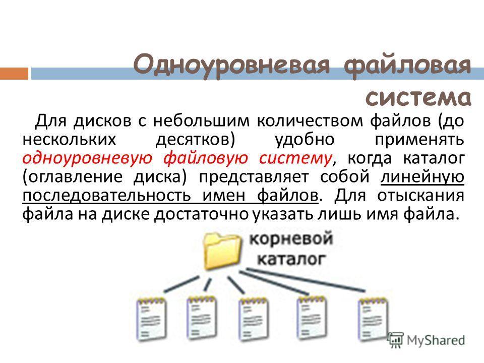 Одноуровневая файловая система Для дисков с небольшим количеством файлов ( до нескольких десятков ) удобно применять одноуровневую файловую систему, когда каталог ( оглавление диска ) представляет собой линейную последовательность имен файлов. Для от
