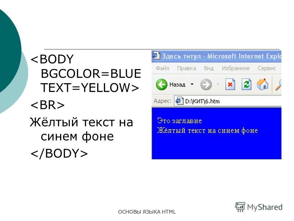 ОСНОВЫ ЯЗЫКА HTML Жёлтый текст на синем фоне