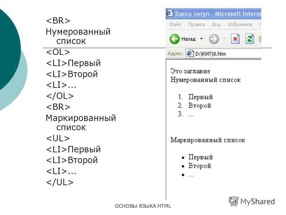ОСНОВЫ ЯЗЫКА HTML Нумерованный список Первый Второй... Маркированный список Первый Второй...