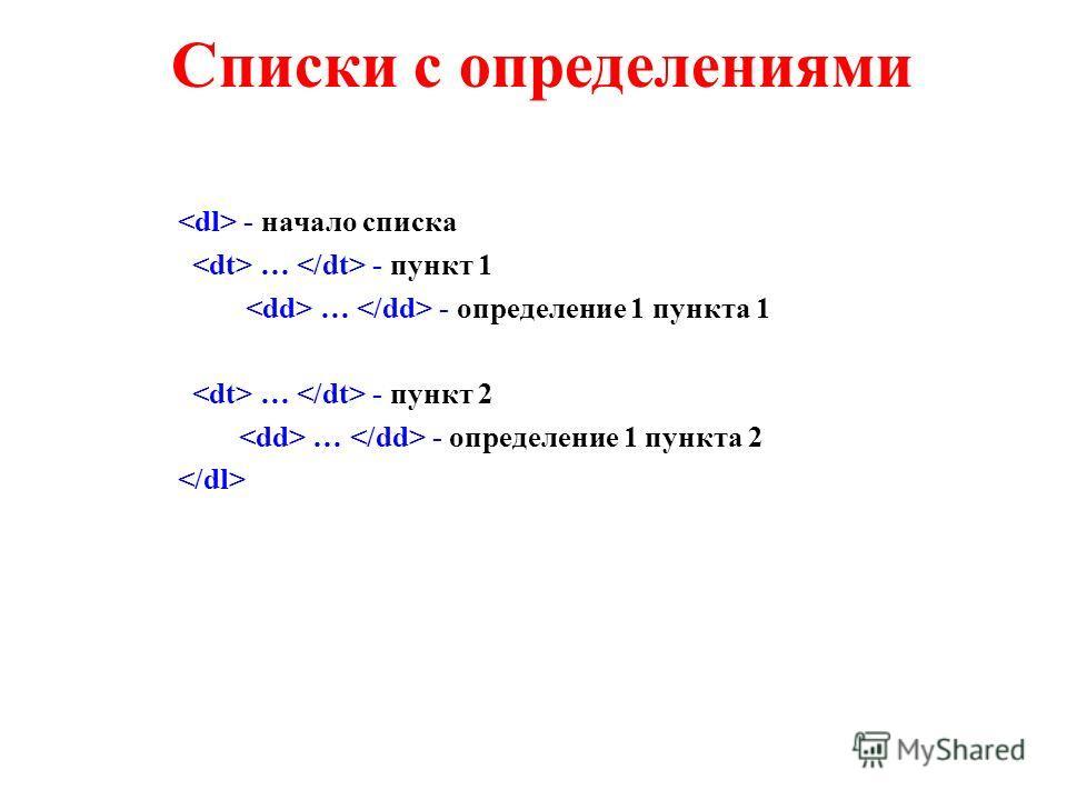 Списки с определениями - начало списка … - пункт 1 … - определение 1 пункта 1 … - пункт 2 … - определение 1 пункта 2