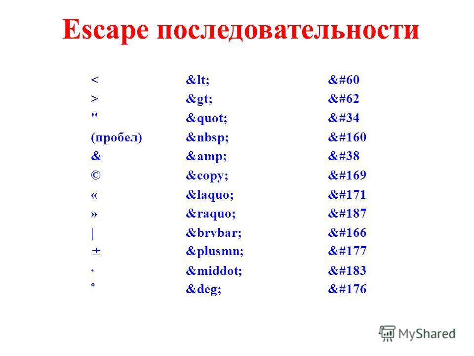 "Escape последовательности > &#62 "" &#34 (пробел) &#160 && &#38 ©© &#169 «« &#171 » » &#187 | ¦ &#166 ±± &#177 ·· &#183 °° &#176"