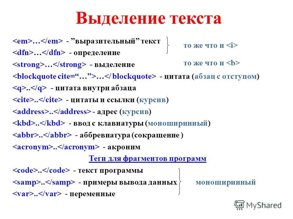 Выделение текста … - выразительный текст … - определение … - выделение … - цитата (абзац с отступом).. - цитата внутри абзаца.. - цитаты и ссылки (курсив).. - адрес (курсив).. - ввод с клавиатуры (моноширинный).. - аббревиатура (сокращение ).. - акро