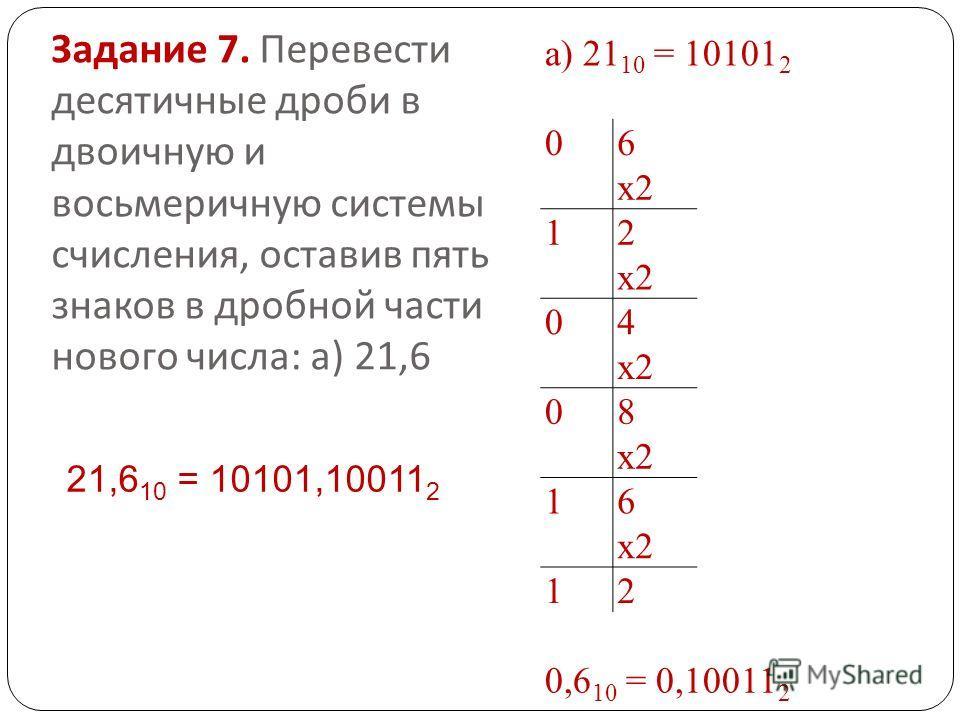 Задание 7. Перевести десятичные дроби в двоичную и восьмеричную системы счисления, оставив пять знаков в дробной части нового числа : а ) 21,6 а) 21 10 = 10101 2 06 х 2 12 04 08 16 12 0,6 10 = 0,10011 2 21,6 10 = 10101,10011 2