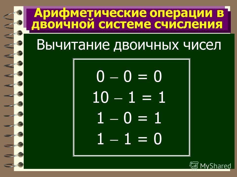Арифметические операции в двоичной системе счисления Вычитание двоичных чисел 0 0 = 0 10 1 = 1 1 0 = 1 1 1 = 0