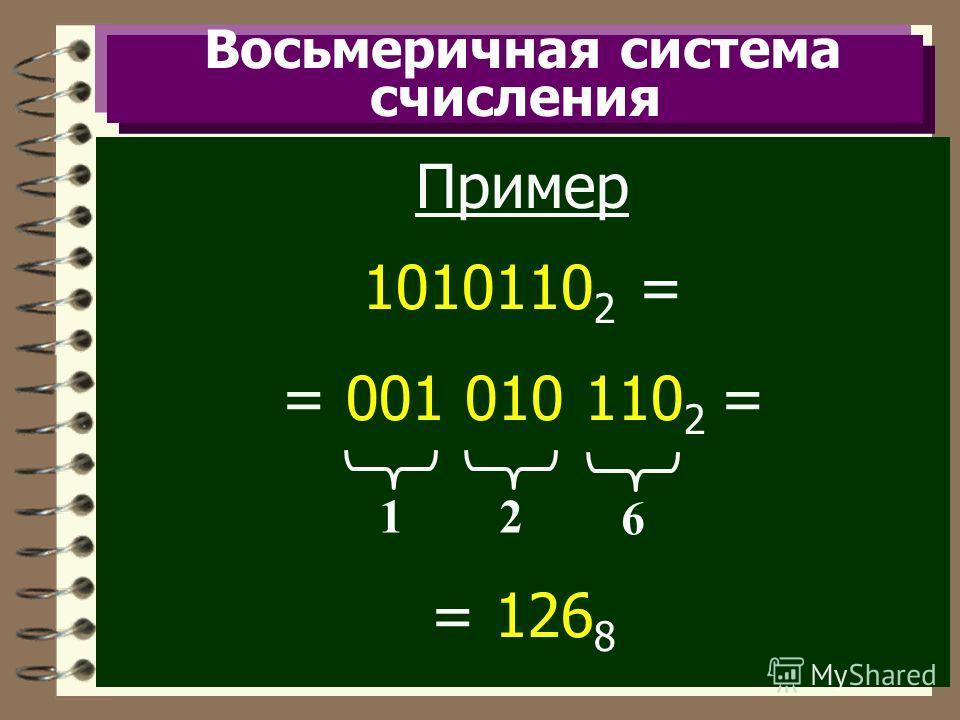 Восьмеричная система счисления Пример 1010110 2 = = 001 010 110 2 = = 126 8 12 6