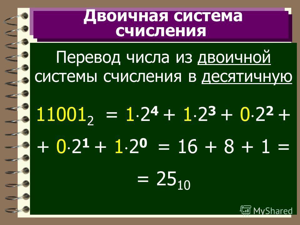 Двоичная система счисления Перевод числа из двоичной системы счисления в десятичную 11001 2 = 1 2 4 + 1 2 3 + 0 2 2 + + 0 2 1 + 1 2 0 = 16 + 8 + 1 = = 25 10