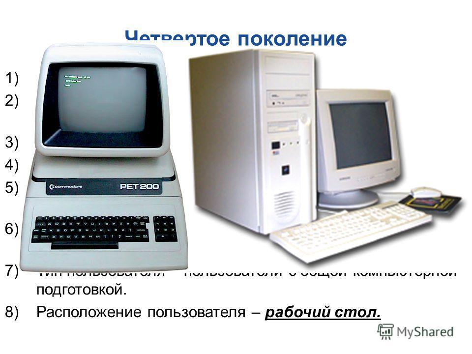 Четвертое поколение 1)Тип ЭВМ – персональный. 2)Цель использования компьютера – управление, предоставление информации. 3)Режим работы компьютера – персональная работа. 4)Интеграция данных – очень высокая. 5)Основные средства наложения информации – оп