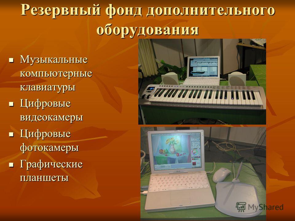 Резервный фонд дополнительного оборудования Музыкальные компьютерные клавиатуры Музыкальные компьютерные клавиатуры Цифровые видеокамеры Цифровые видеокамеры Цифровые фотокамеры Цифровые фотокамеры Графические планшеты Графические планшеты