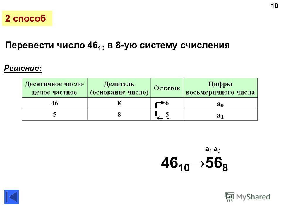10 Перевести число 46 10 в 8-ую систему счисления 46 10 56 8 Решение: 2 способ a 1 a 0