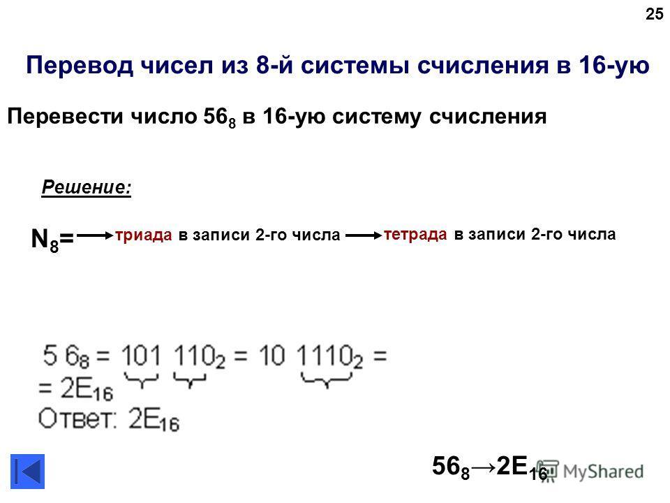 25 Перевод чисел из 8-й системы счисления в 16-ую 56 82E 16 Решение: N8=N8= триада в записи 2-го числа тетрада в записи 2-го числа Перевести число 56 8 в 16-ую систему счисления