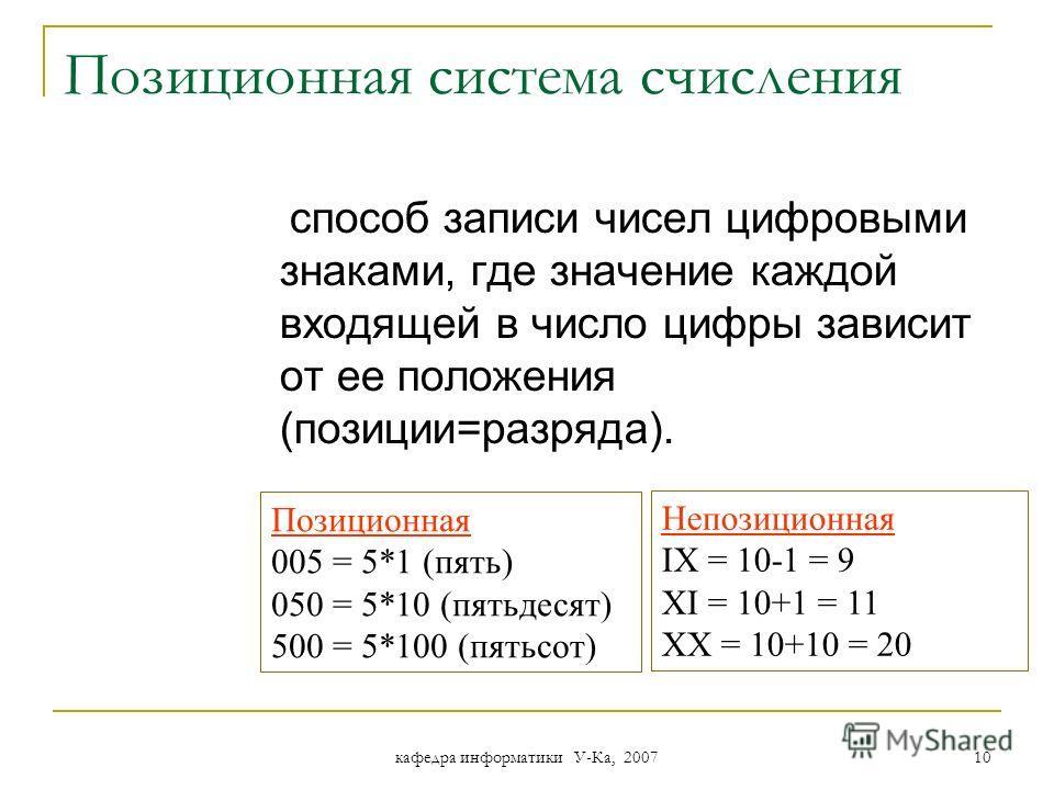 кафедра информатики У-Ка, 2007 9 Позиционные С.С. За основание позиционной системы счисления может быть принято любое натуральное число, т.е. бесчисленное множество. Запись чисел каждой из системы счисления с основанием q означает сокращенную запись