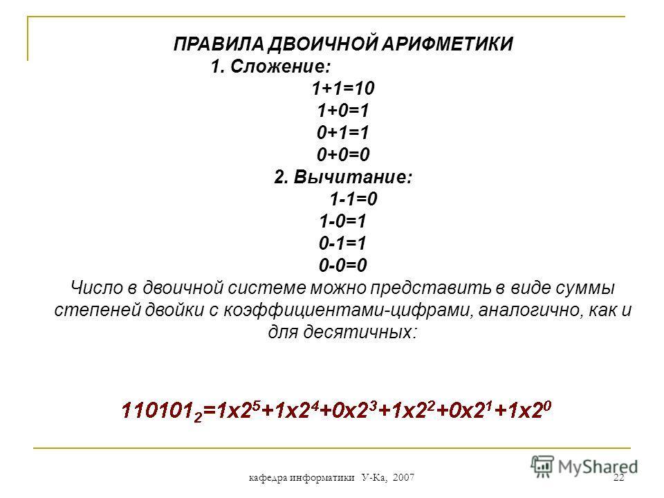 кафедра информатики У-Ка, 2007 21 Двоичная система счисления 0*10*11*21*20*40*41*81*8 + + + &1010 = 0208 + + + 0123 i 0101 aiai например, & 1010 – число в двоичной системе счисления 1248 xixi + a 0 *x 0 + a 1 *x 1 a 3 *x 3 + a 2 *x 2 a 3 a 2 a 1 a 0