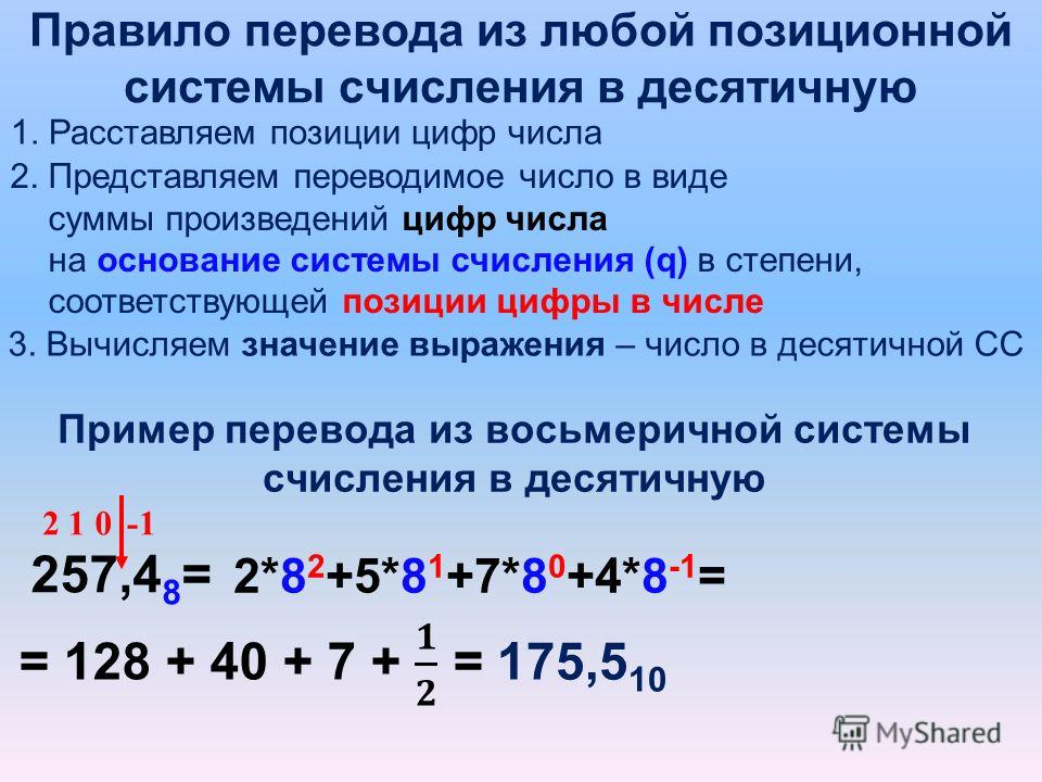 Правило перевода из любой позиционной системы счисления в десятичную 1. Расставляем позиции цифр числа 257,4 8 = 012 2. Представляем переводимое число в виде суммы произведений цифр числа на основание системы счисления (q) в степени, соответствующей